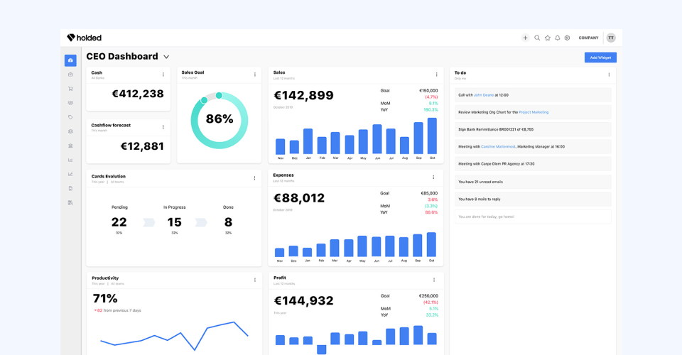 Holded different SaaS dashboard designs